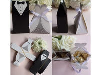 100 Tuxedo Dress Groom Bridal Wedding Party Favor Ribbon Candy Boxes