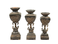 3PC SET Antique POLYRESIN CANDLE HOLDER Damaceen.com