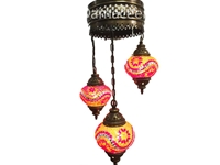 3 Globe Turkish Hand Made Mosaic Chandelier