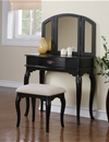 Poundex Vanity w/ Stool, Black F4067 (764) by New Furniture 4 Less