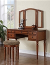 Poundex Vanity w/ Stool, Walnut F4073 (771) by New Furniture 4 Less