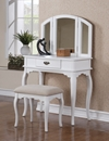 Poundex Vanity w/ Stool, White F4069 (775) by New Furniture 4 Less