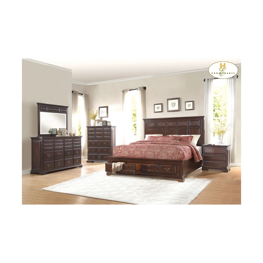 Home Eleglance - Queen Platform Bed with Footboard Storages