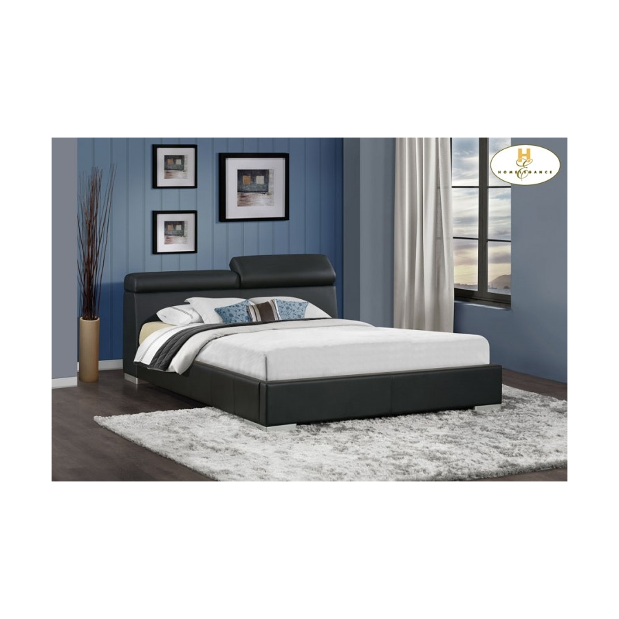 Home Eleglance -	Queen Platform Bed with Adjustable Headrests