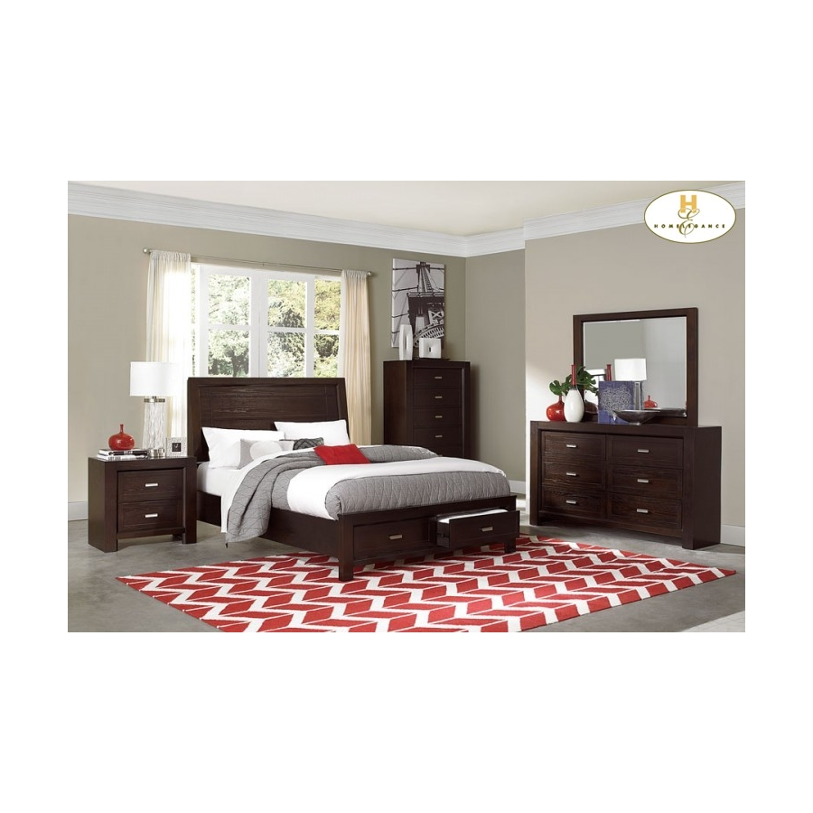 Home Eleglance -Queen Platform Bed with Footboard Storages