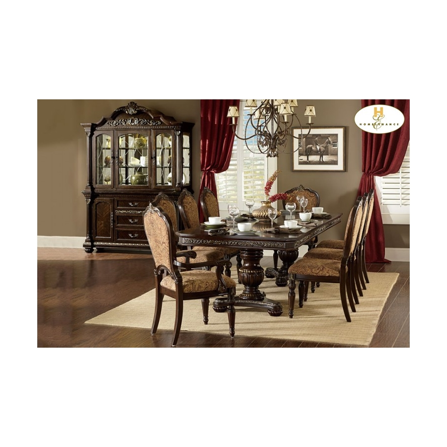 Home Eleglance - 	Double Pedestal Dining Table