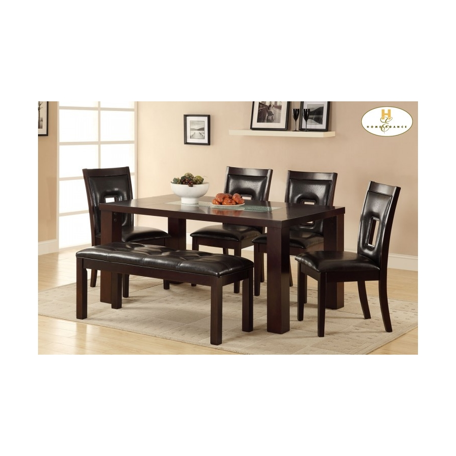 Home Eleglance - Dining Table with Crackle Glass Insert