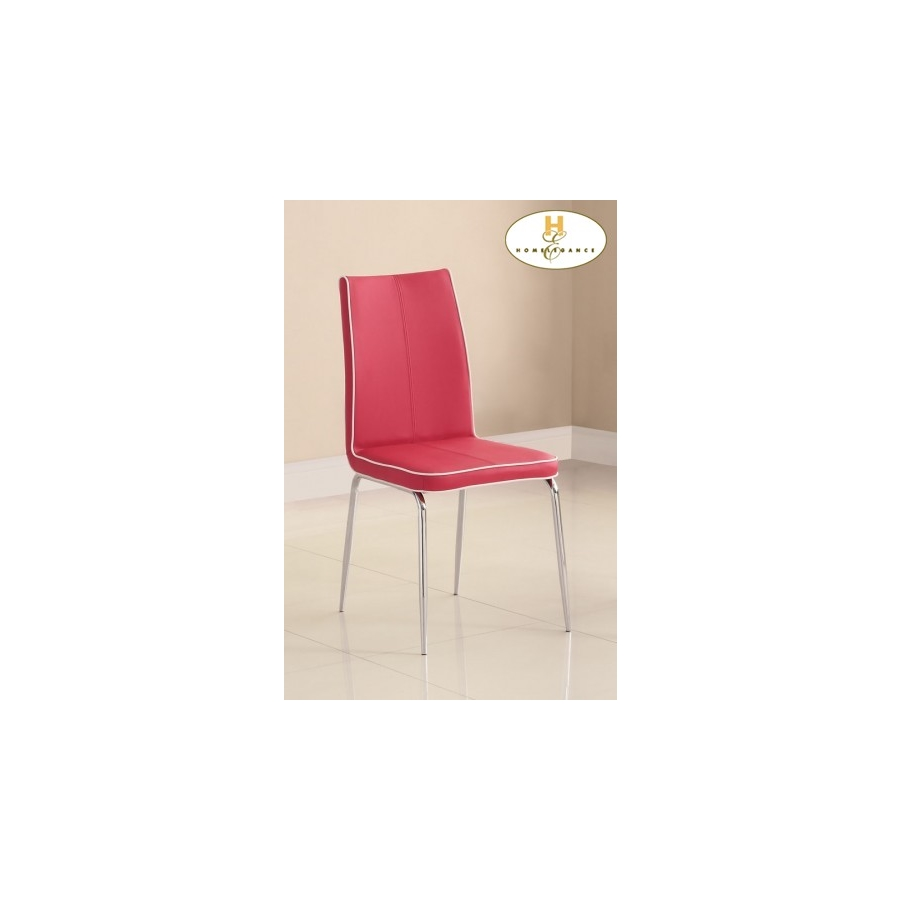 Home Eleglance - Side Chair, Red PVC
