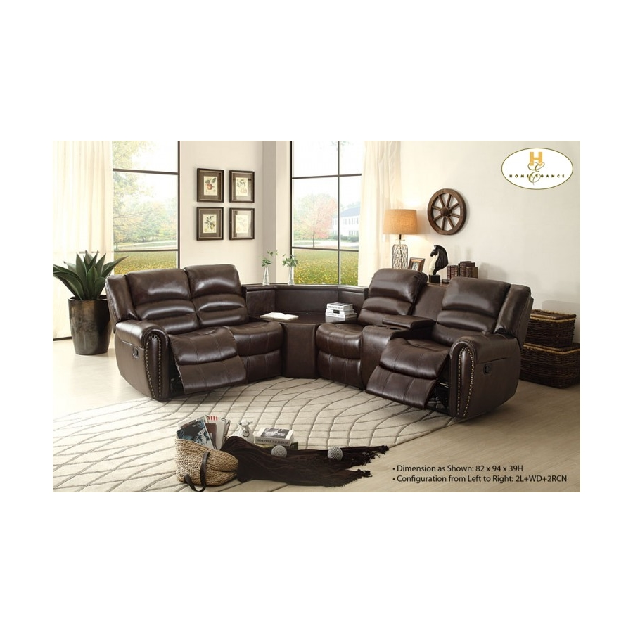 Home Eleglance - Right Side Reclining Love Seat with Center Console