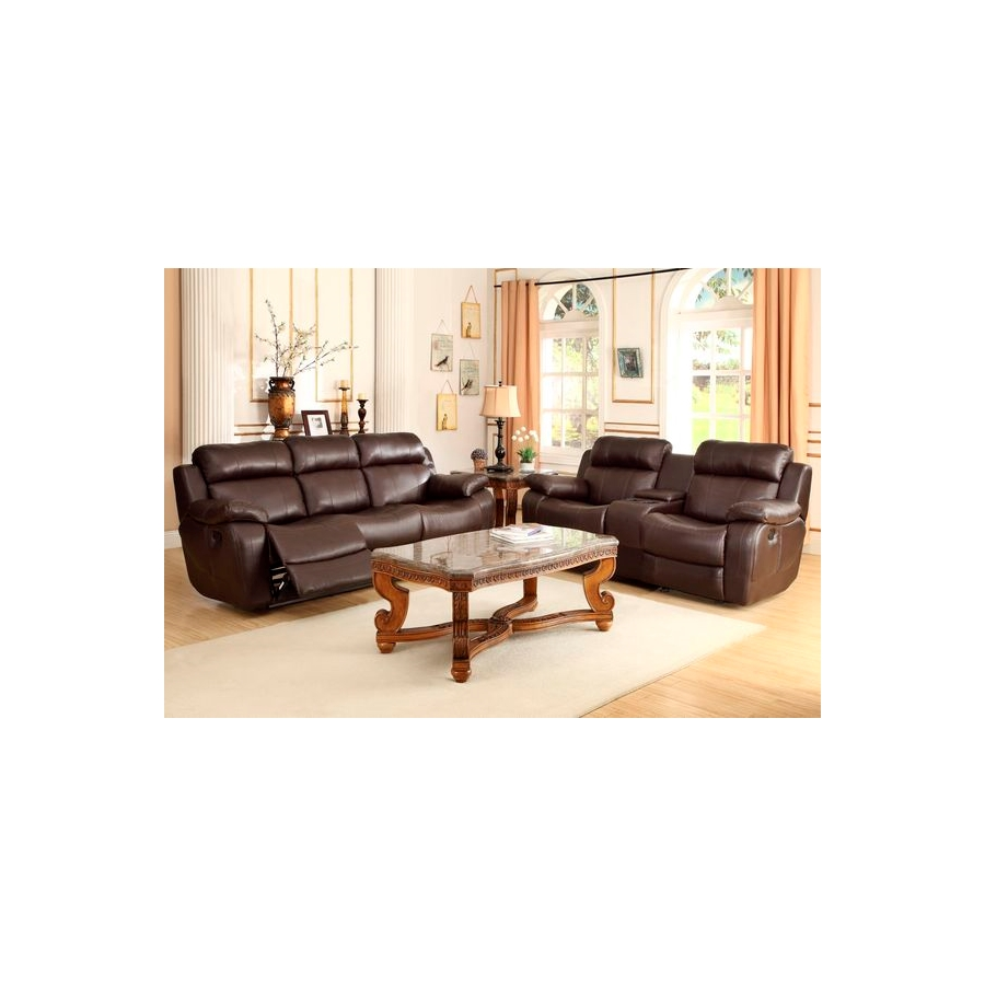 Home Eleglance - Double Reclining Sofa with Center Drop-Down Cup Holders