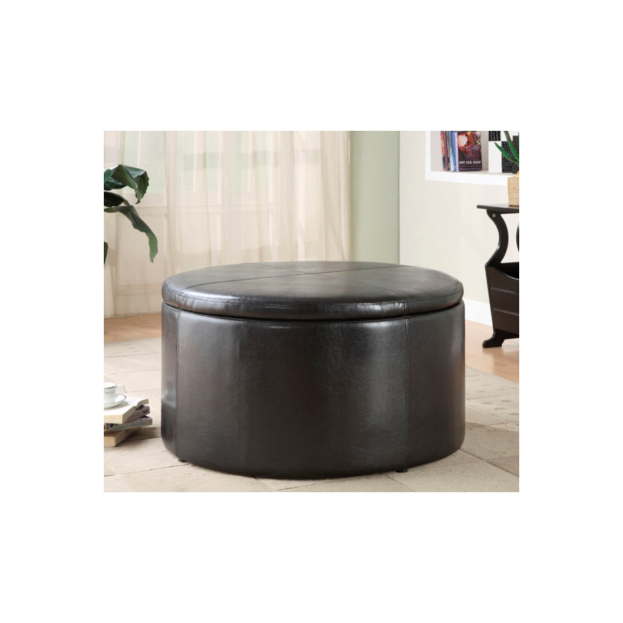 Home Eleglance - Round Storage Cocktail Table with 2 Kidney Ottomans