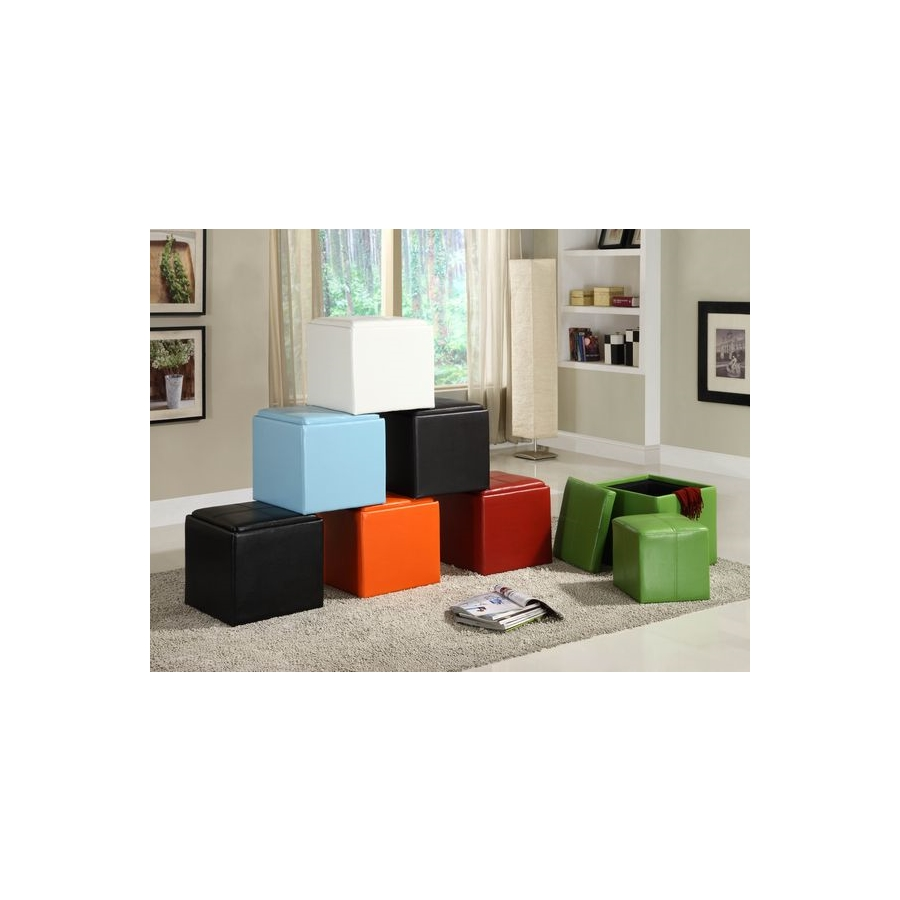 Home Eleglance - Storage Cube Ottoman, Brown PU