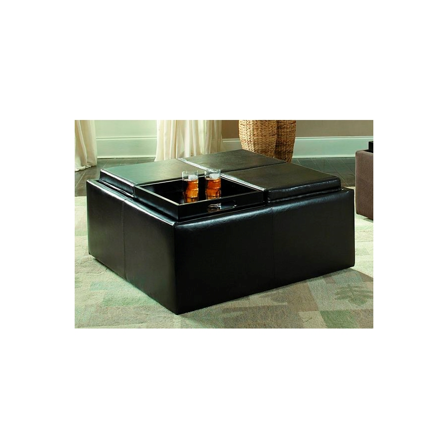 Home Eleglance - Cocktail Ottoman with 4 Trays/Storage